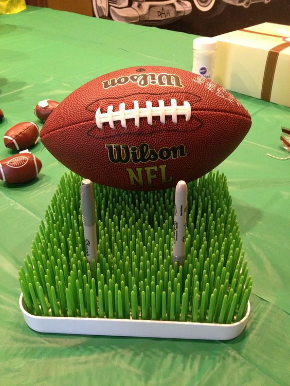 Football guest sign in for themed shower.
