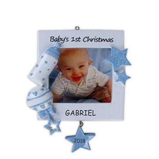 Personalized baby ornament with picture of baby and name.