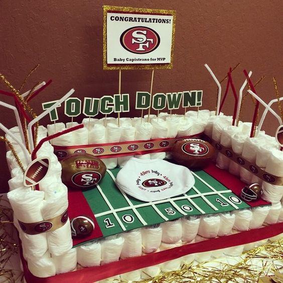 Diaper football stadium for baby shower.