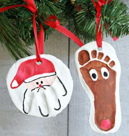 Hand and footprint DIY clay ornaments.