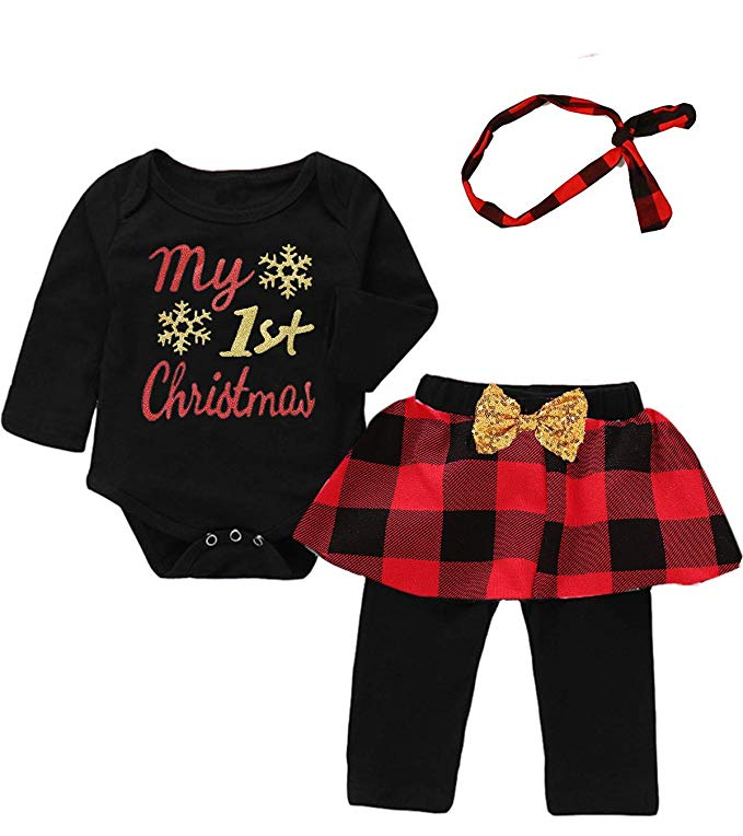 Black and red checkered Christmas outfit for baby girl.