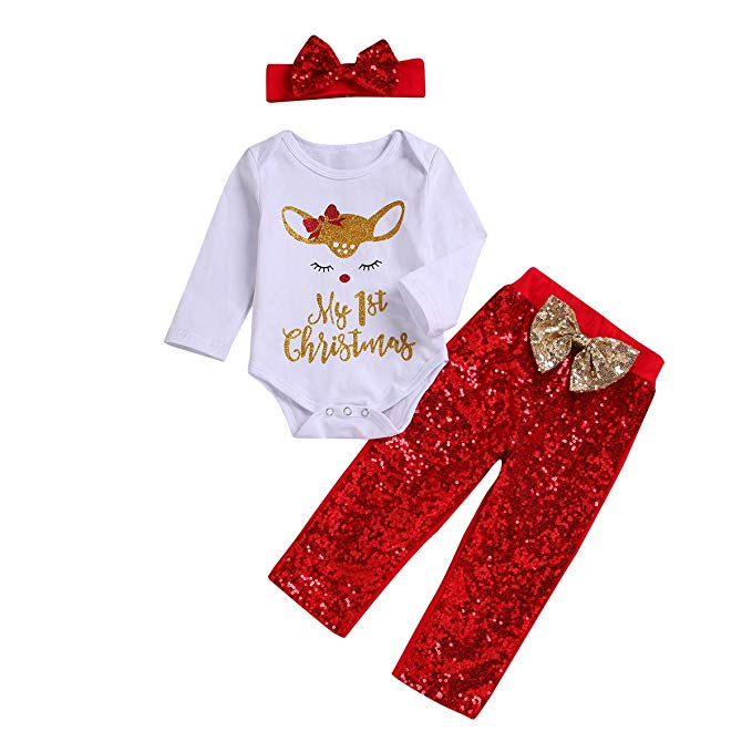 Red and white 3 piece baby girl Christmas outfit with deer.