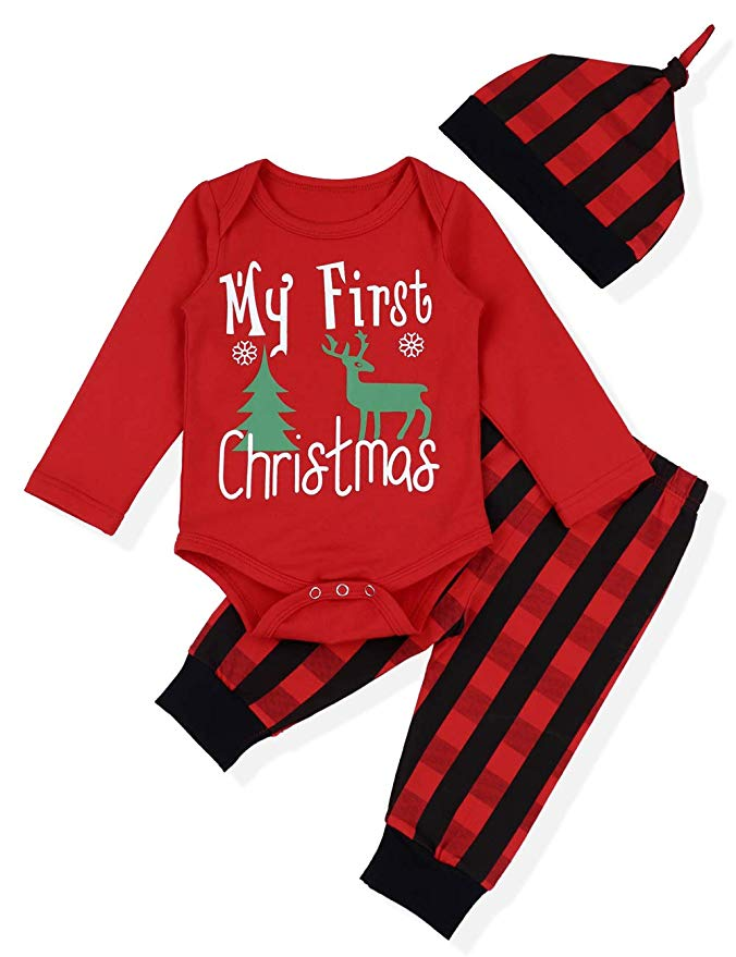 My First Christmas onesie and matching pants and hat.