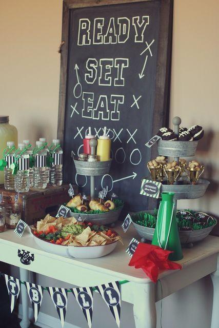 Ready, set, eat football themed food table.