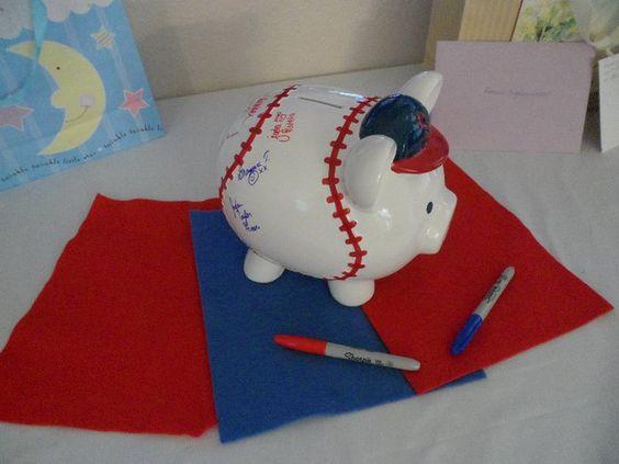 Baseball piggie bank guest sign in.