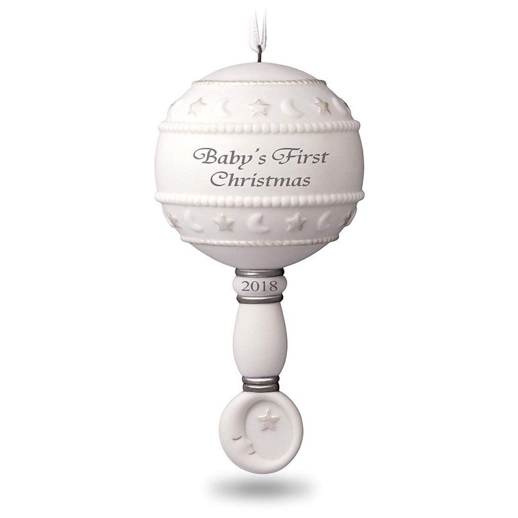 White Baby\'s First Christmas tree ornament.