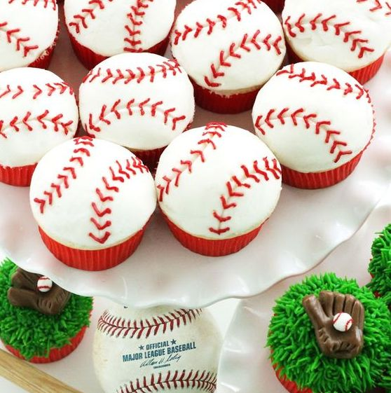 Red and white baseball cupcakes for boy shower.