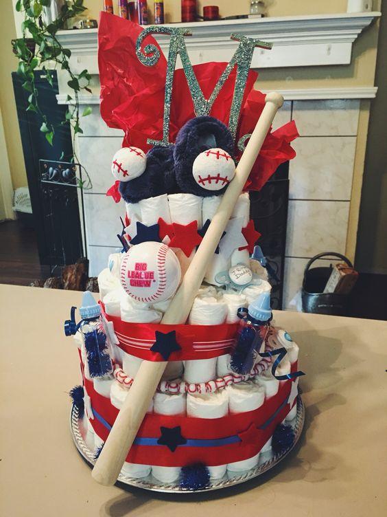 Baseball diaper cake for boy shower.