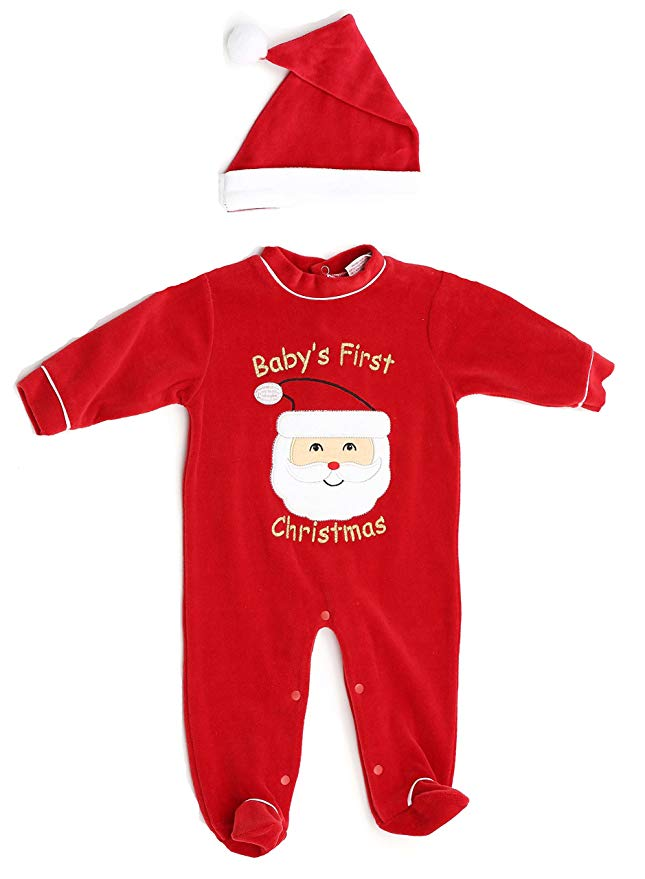 """Red, \""""Baby\'s First Christmas\"""" pajama set with Santa hat."""