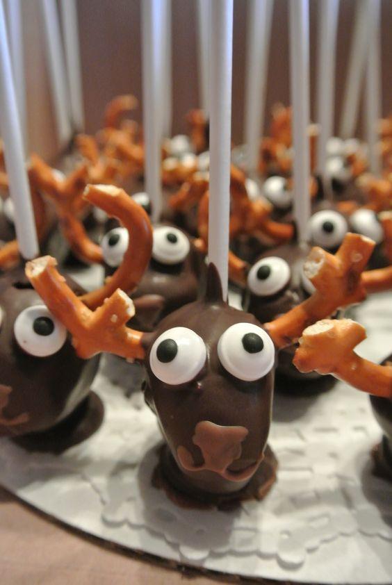 Deer cake pops with pretzel antlers.