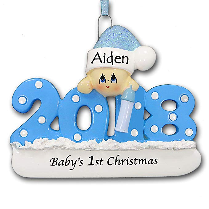 Personalized baby ornament with name and year.