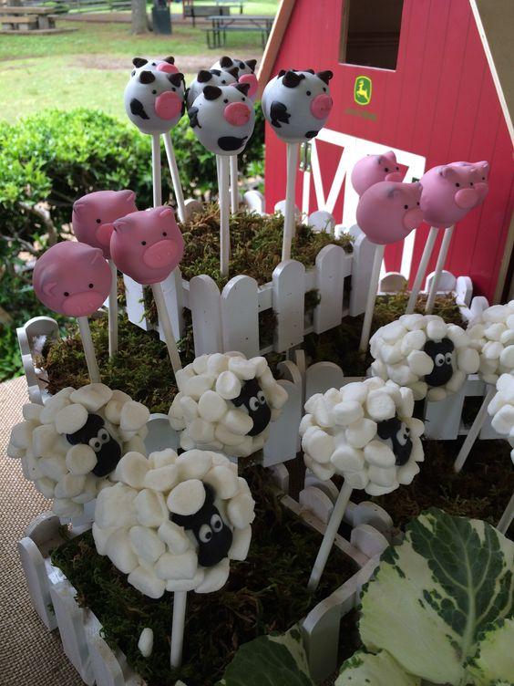Farm animal cake pops for boy baby shower.