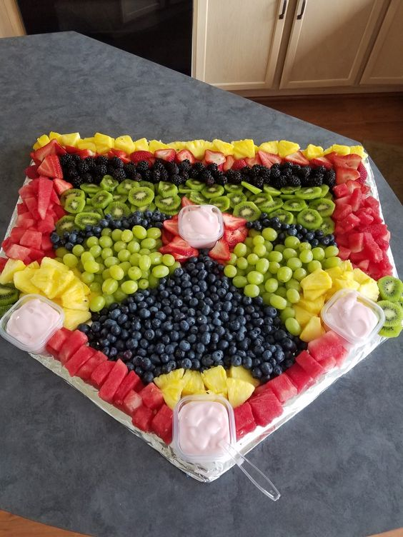 Baseball diamond fruit tray.