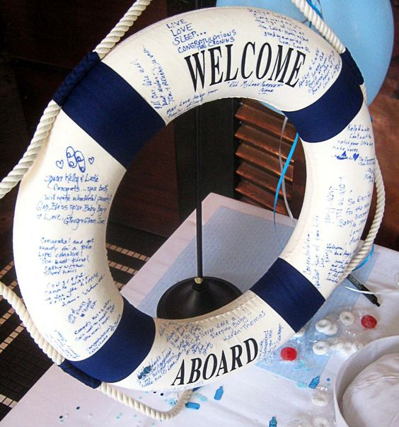 Buoy guest book from nautical themed baby shower.