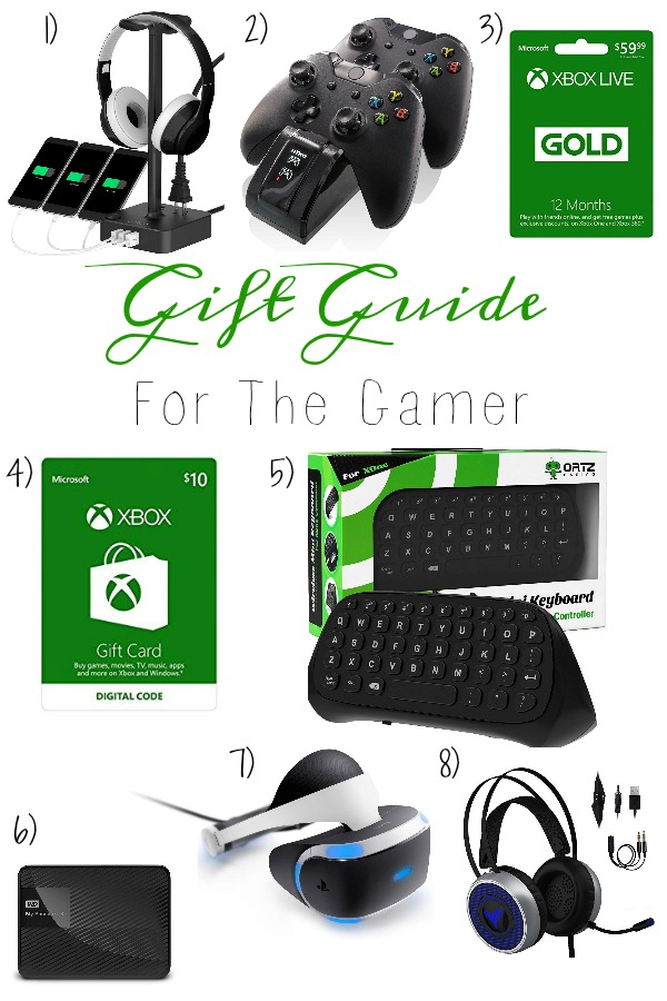 Pinterest graphic with text for Gift Guide for the Gamer and collage of gaming products.