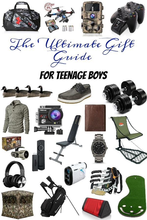 Pinterest graphic with text for the Ultimate Gift Guide for Teenage Boys and collage of teenage boy gifts.