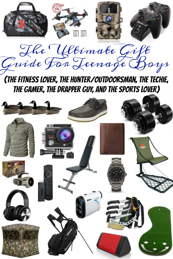 Pinterest graphic with text for The Ultimate Gift Guide for Teenage Boys and collage of teen gift ideas or boys.