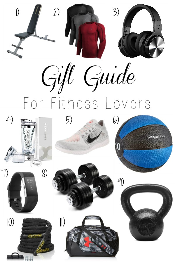 Pinterest graphic with text for Gift Guide for Fitness Lovers and collage of fitness products.