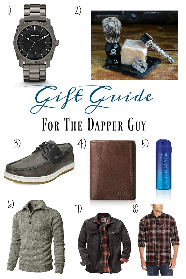 Pinterest graphic with text for Gift Guide for the Dapper Guy and collage of men\'s clothing items and accessories.