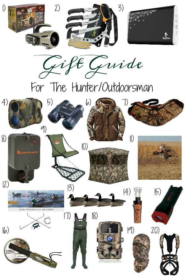 Pinterest graphic with text for Gift Guide for the Hunter/Outdoorsman and collage of hunting and outdoorsy products.