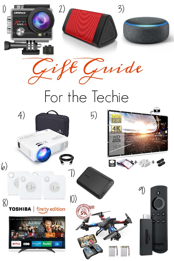 Pinterest graphic with text for Gift Guide for the Techie and collage of tech product ideas.