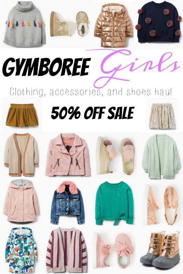 Pinterest graphic with text for Gymboree Girls Clothing Haul and collage of baby girl clothing items.