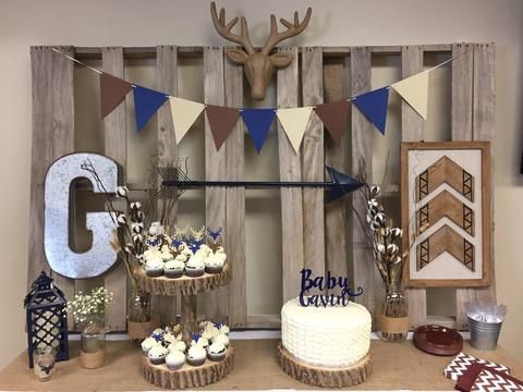 Rustic blue and brown boy baby shower tablescape.