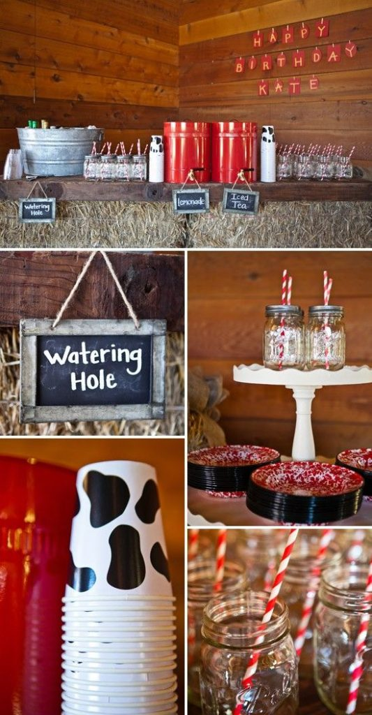 Collage of farm baby shower decor and food ideas.