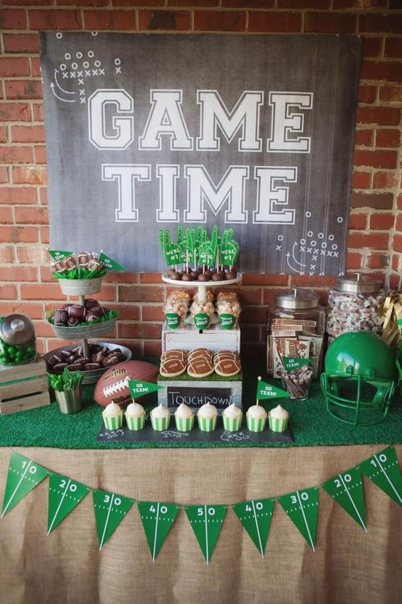 Game time football shower tablescape.