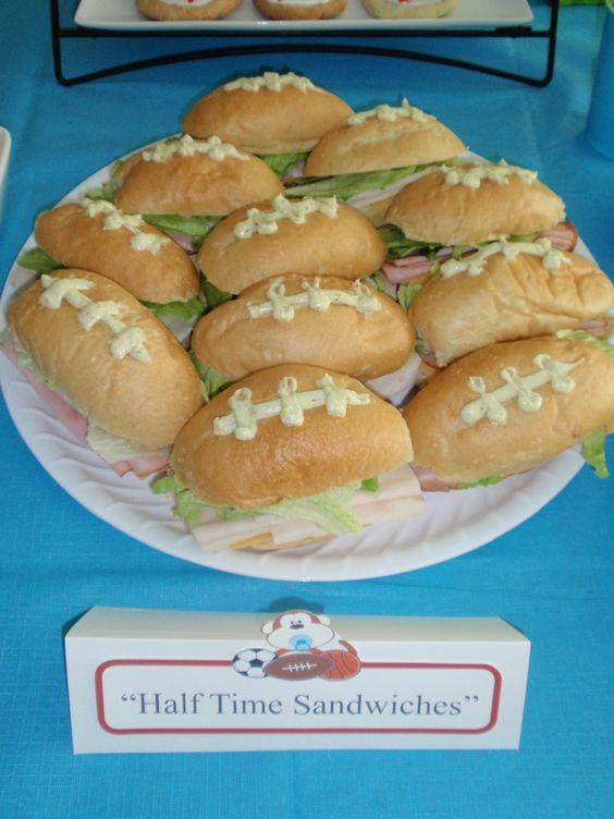 Football sandwiches for boy shower theme.