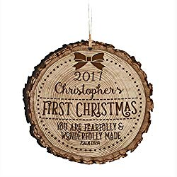 Rustic mini tree stump Christmas ornament with personalized name and year.