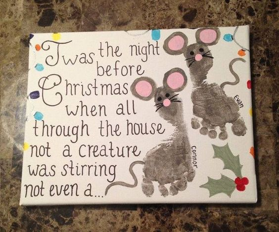 Christmas crafts with baby footprints turned into likeness of mice and excerpt from the Night Before Christmas.
