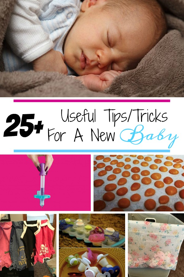 Pinterest graphic with text for Useful Tips/Tricks for a New Baby and collage of newborn tricks.
