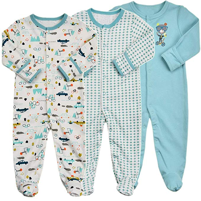 Baby pajamas with built-in mittens.