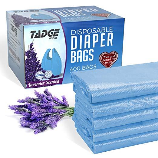 Disposable diaper bags for newborn babies.