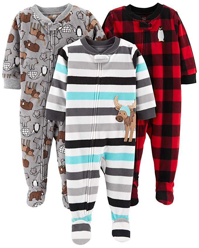 Assortment of zipper pajamas for babies.