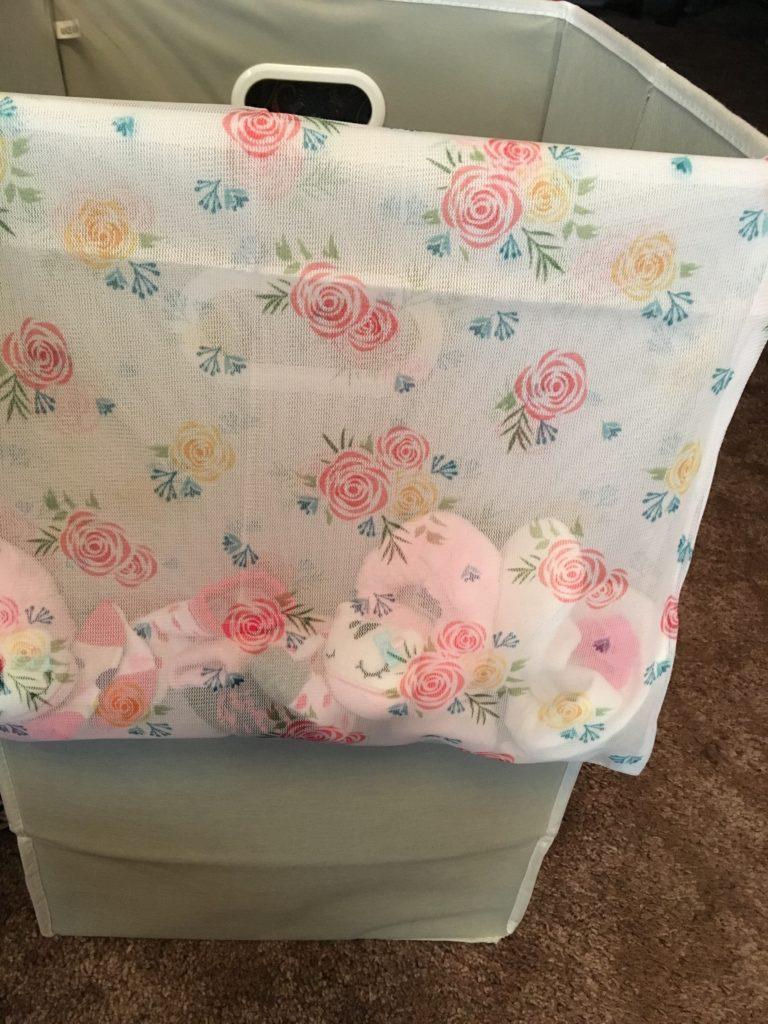 Baby socks in mesh laundry bag.