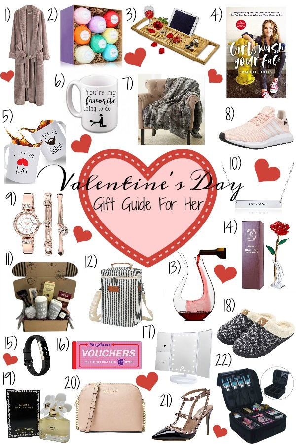 Pinterest graphic with text for Valentine\'s Day Gift Guide for Her and collage of Valentine\'s day Gifts for women.