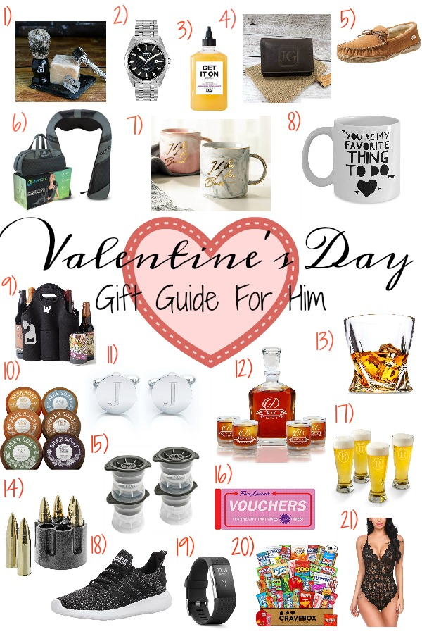 Pinterest graphic with text for Valentine's Day Gift Guide for Him and collage of Valentine's Day gifts for men.