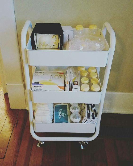 Breast pump supplies organized on white utility cart.