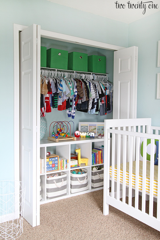 View or organized closet with cube storage shelves.