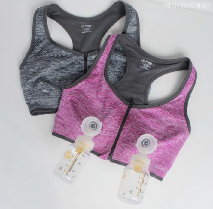 Old sports bra turned into pumping bra for new baby.