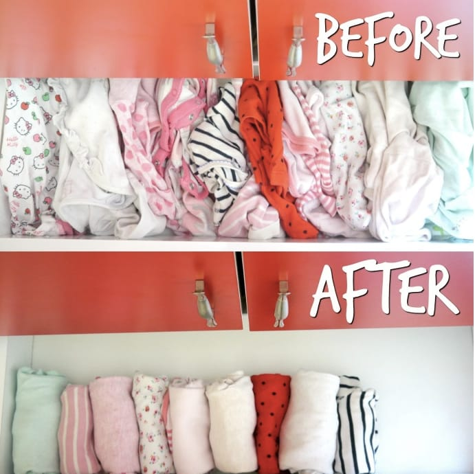 Before and after of organized baby clothing.