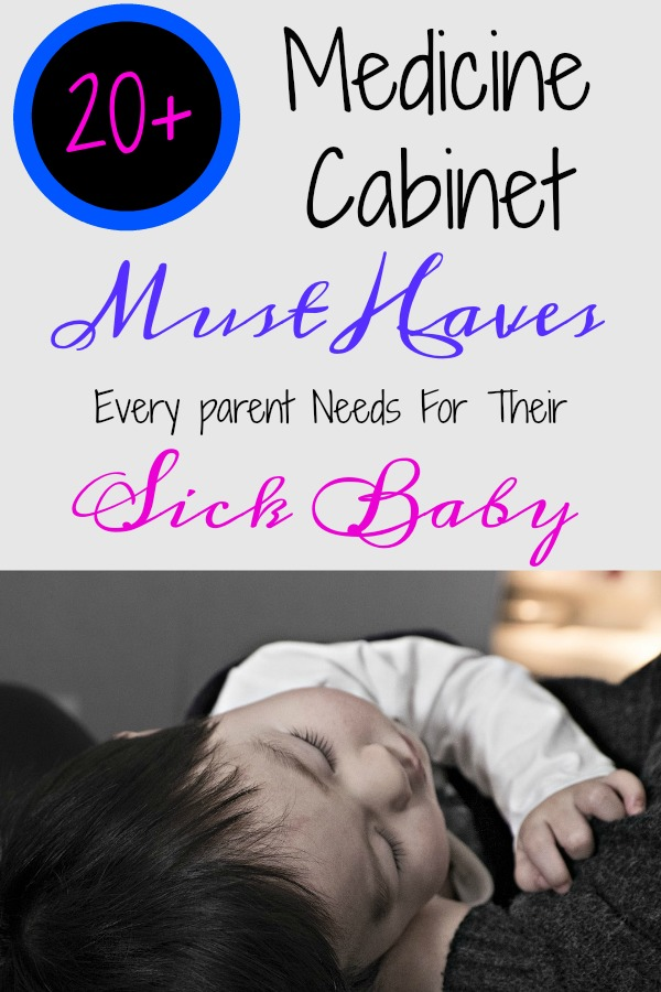 Pinterest graphic with text for Medicine Cabinet Must Haves and sleeping baby.