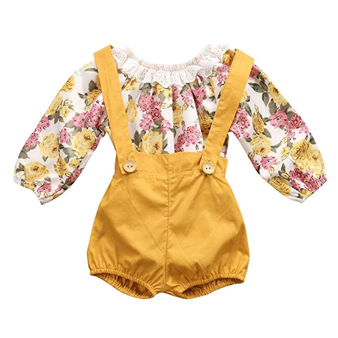 Golden yellow romper with straps and matching yellow and pink floral long sleeved top for baby girl.