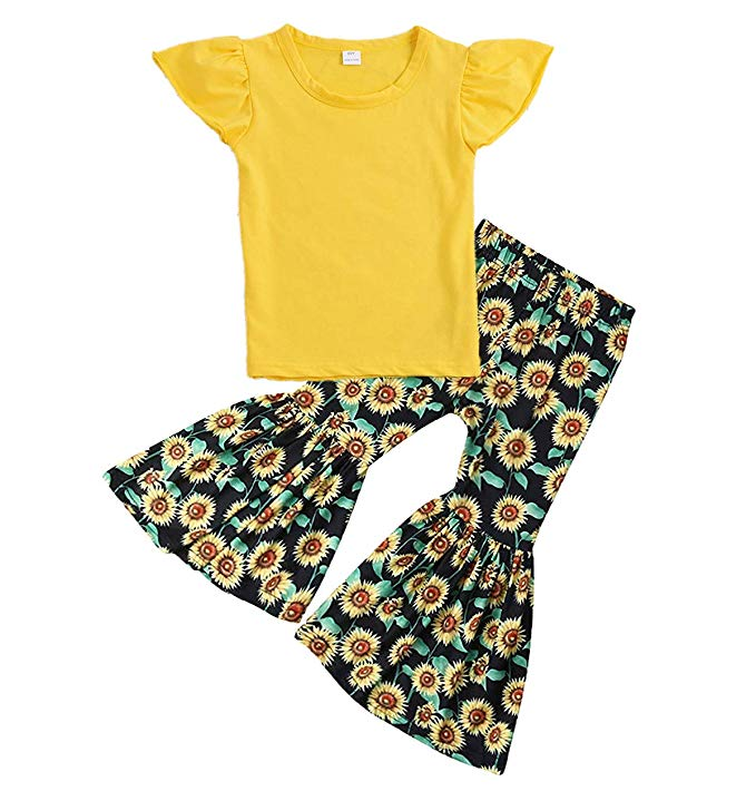 Baby girl yellow cap sleeve top with matching sunflower print flare pants.