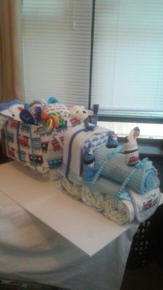 Baby items formed into train.