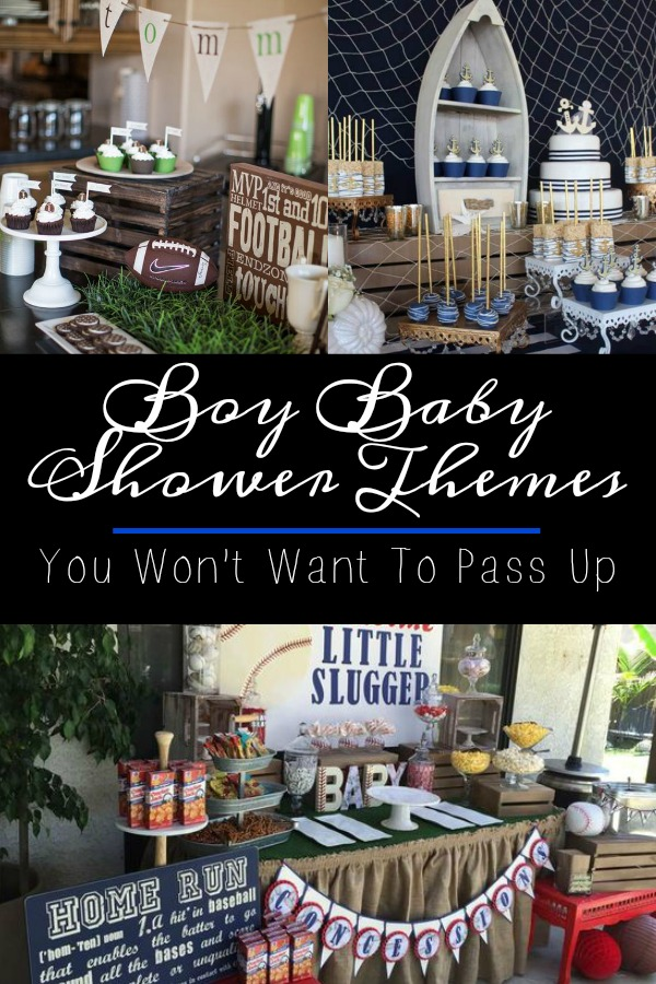 Pinterest graphic with text for Boy Baby Shower Themes and collage of baby shower themes for boys.