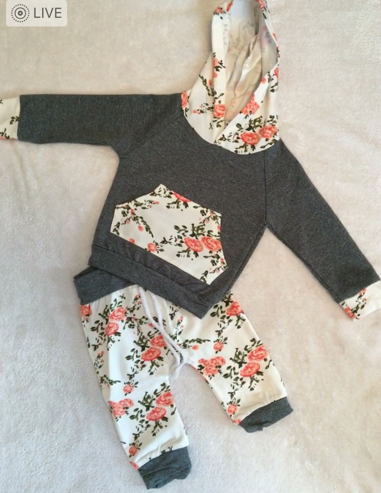 Gray, peach and green hoodie and pants set for baby girl.