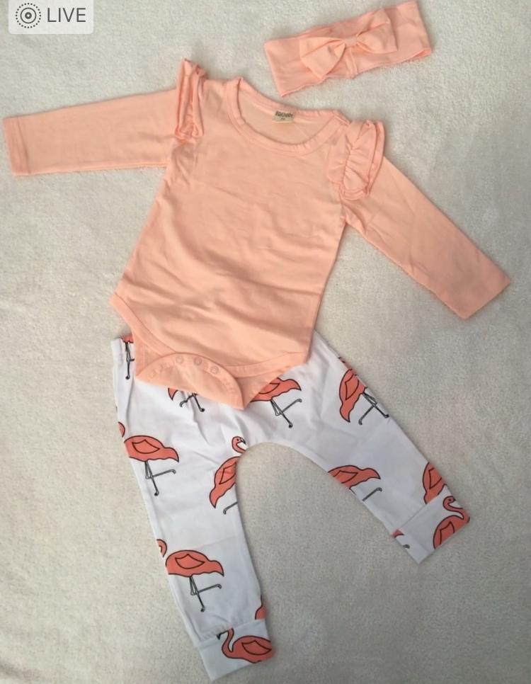 Flamingo printed baby girl pants with peach long-sleeved onesies.